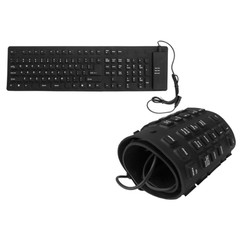 Washable Flex USB Keyboard, Black/Gray, Mid Size, 109 Key - Part Number: 5012-216BK