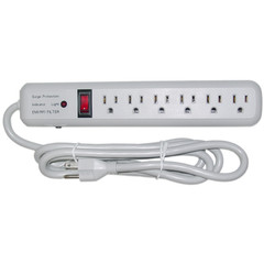 Surge Protector, 6 Outlet, Gray, Vertical Outlets, 3 MOV, 540 Joules, EMI / RFI, Power Cord 6 foot - Part Number: 51W1-01206