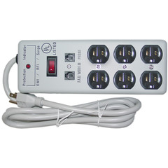 Surge Protector, 6 Outlet, 1 X3 MOV, EMI & RFI, Modem Protector, Power Cord 6 foot - Part Number: 51W1-08206