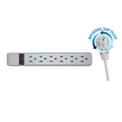 Surge Protector, Flat Rotating Plug, 6 Outlet, Gray Horizontal Outlets, Plastic, Power Cord 6 foot - Part Number: 51W1-19206