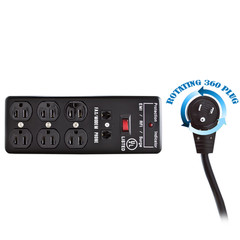 Surge Protector, Flat Rotating Plug, 6 Outlet, Black, Metal, Commercial Grade, 1 X3 MOV, EMI & RFI, Modem Protector, Power Cord 6 foot - Part Number: 51W1-82206