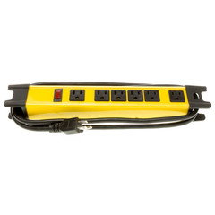 Commercial Grade Surge Protector, 6 Outlet, Yellow, Metal, Power Cord 6 foot - Part Number: 51W2-18106
