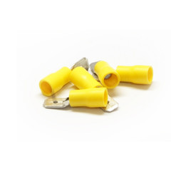 Quick Disconnect Male Spade, Yellow, 10 AWG - 12 AWG, Electrical Wire Connection, 100 Pieces - Part Number: 55TR-10013