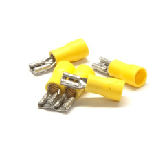 Quick Disconnect Female Spade, Yellow, 10 AWG - 12 AWG, Electrical Wire Connection, 100 Pieces - Part Number: 55TR-10023
