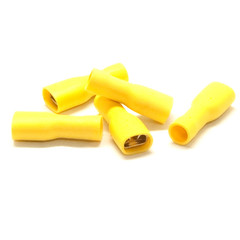 Quick Disconnect Insulated Female Spade, Yellow, 10 AWG - 12 AWG, Electrical Wire Connection, 100 Pieces - Part Number: 55TR-10123