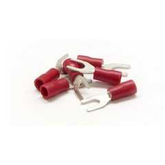 Fork Terminal, Red, 16 AWG - 22 AWG, Electrical Wire Connection, 100 Pieces - Part Number: 55TR-20011