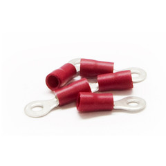 Ring Terminal, Red, 16 AWG - 22 AWG, Electrical Wire Connection, 100 Pieces - Part Number: 55TR-30011
