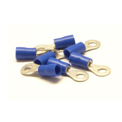 Ring Terminal, Blue, 14 AWG - 16 AWG, Electrical Wire Connection, 100 Pieces - Part Number: 55TR-30012