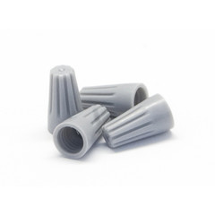 Gray Twist Wire Connectors, 14 AWG - 22 AWG, 6mm, 100 Pieces - Part Number: 55TS-20100