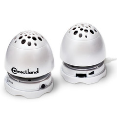 USB Rechargeable Egg Speakers, White, Ultra Compact - Part Number: 60PP-10100WH