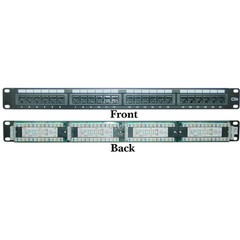Rackmount 24 Port Cat5e Patch Panel, Horizontal, 110 Type, 568A & 568B Compatible, 1U - Part Number: 68PP-03024