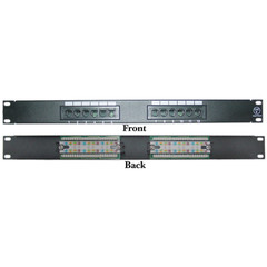 Rackmount 12 Port Cat6 Patch Panel, Horizontal, 110 Type, 568A & 568B Compatible, 1U - Part Number: 69BK-06012