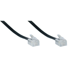 Telephone Cord (Voice), RJ11, 6P / 4C, Black, Reverse, 25 foot - Part Number: 8101-64225BK