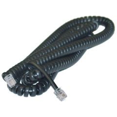Headset to Phone Cord (Voice), RJ22, 4P / 4C, Black, Coil, Reverse, 25 foot - Part Number: 8104-44225BK