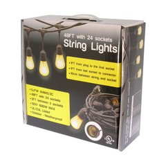 48ft Waterproof Outdoor String Light Cable E26 (Bulbs not included) - Part Number: 90L2-11050