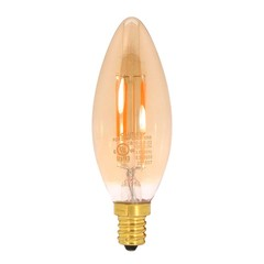 3.5 Watt (25W Equiv.) Warm (2200k) Candelabra Round Tip, Dimmable LED Filament Bulb. E12 - Part Number: 90L2-20303