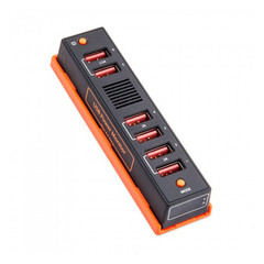 USB 6 Port Desktop Charge Station 6.5A with Power Monitor - Part Number: 90W1-10206