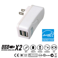 2 Port USB Wall Charger, White, 2.1 Amps for Powering Smart Phones, Tablets, and Other USB Powered devices - Part Number: 90W1-31200WH