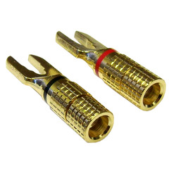 Speaker Wire Spade Contacts, 24K Gold-plated, Black and Red, 2 Piece Set - Part Number: ACFR-0537