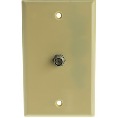 TV Wall Plate with 1 F-pin Coupler, Ivory - Part Number: ASF-20251