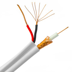 Bulk RG59 Siamese Coaxial/Power Cable, White, Solid Core (Copper) Coax, 18/2 (18 AWG 2 Conductor) Stranded Copper Power, Pullbox, 500 foot - Part Number: 10X3-18291TF