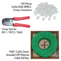 Cat5e Network Patch Cable Kit (Green) - Part Number: KIT-C5E002GR
