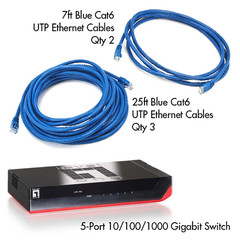 Cat6 Gigabit Home Networking Starter Kit (Blue) - Part Number: KIT-C60004BL