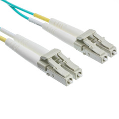 Plenum 10 Gigabit Aqua Fiber Optic Cable, LC / LC, Multimode, Duplex, 50/125, 1 meter (3.3 foot) - Part Number: LCLC-31001-PL