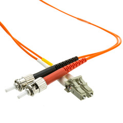 Fiber Optic Cable, LC / ST, Multimode, Duplex, 62.5/125, 25 meter (82 foot) - Part Number: LCST-11125