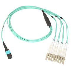 Plenum Fiber Optic Cable, 40 Gigabit Ethernet QSFP 40GBase-SR4 to MTP(MPO)/LC (4 Duplex LC) 24 inch Breakout Cable, OM3, 50/125, 3 meter - Part Number: MPLC-31003