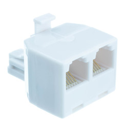Phone Splitter (Straight), RJ11/RJ12 Male to two RJ11/RJ12 Female - Part Number: PA-6P6C-ST