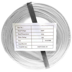 Security/Alarm Wire, White, 22/2 (22AWG 2 Conductor), Solid, CMR / Inwall rated, Coil Pack, 500 foot - Part Number: 10K4-0291CF