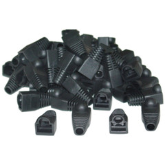 RJ45 Strain Relief Boots, Black, 50 Pieces Per Bag - Part Number: SR-8P8C-BK