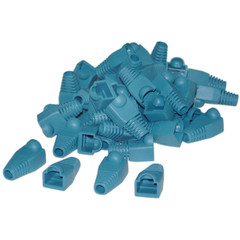 RJ45 Strain Relief Boots, Blue, 50 Pieces Per Bag - Part Number: SR-8P8C-BL