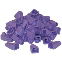 RJ45 Strain Relief Boots, Purple, 50 Pieces Per Bag - Part Number: SR-8P8C-PU