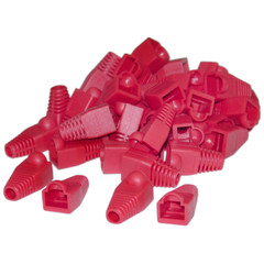 RJ45 Strain Relief Boots, Red, 50 Pieces Per Bag - Part Number: SR-8P8C-RD