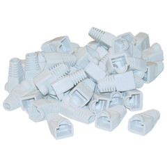 RJ45 Strain Relief Boots, White, 50 Pieces Per Bag - Part Number: SR-8P8C-WH