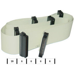 Internal SCSI III Cable, 6 HPDB68 (Half Pitch DB68) Male Connectors, 5 Device, 40 inch - Part Number: WS36-01040