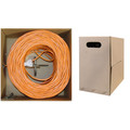 Plenum Cat6 Bulk Cable, Orange, Solid, UTP (Unshielded Twisted Pair), CMP, 23 AWG, Pullbox, 1000 foot thumbnail