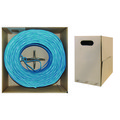 Plenum Cat5e Bulk Cable, Blue, Solid, UTP (Unshielded Twisted Pair), CMP, 24 AWG, Pullbox, 1000 foot thumbnail