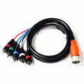 EZ Pull Orange Male to 5 RCA (RGB Component Video and Stereo Audio) Male Adapter Cable 3 foot thumbnail