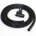 5ft Split Loom Cable Wrap, Black, 15mm diameter, Cable Management Wraps thumbnail