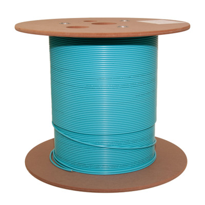 12 Fiber Indoor Distribution Fiber Optic Cable, Multimode, 50/125, OM4, 10 Gbit, Aqua, Riser Rated, Spool, 1000 foot - Part Number: 10F2-412NH