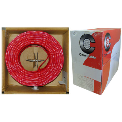 16/2 (16AWG 2C) Solid FPLR Fire Alarm / Security Cable, Red, 500 ft, Pullbox - Part Number: 10F6-0271TF
