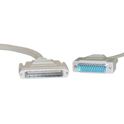 SCSI III cable, HPDB68 (Half Pitch DB68) Male to DB25 Male, 25 Twisted Pairs, Screw, 3 foot - Part Number: 10P2-25103