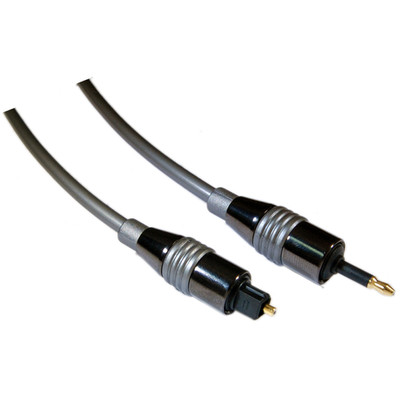 6 ft High Quality Digital Fiber Optic Audio Toslink to 3.5mm Optical Cable - 5.0mm - Part Number: 10T3-PF06