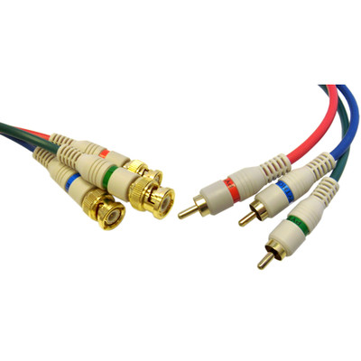 High Quality Component Video RCA to BNC Component Conversion Cable, 3 RCA Male to 3 BNC Male, 6 foot - Part Number: 10V2-25206
