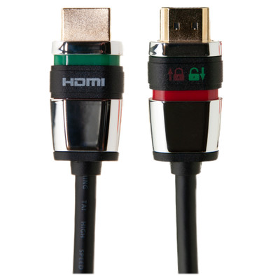 Locking HDMI Cable, High Speed with Ethernet, HDMI Male, 4K, 10 foot - Part Number: 10V3-45110