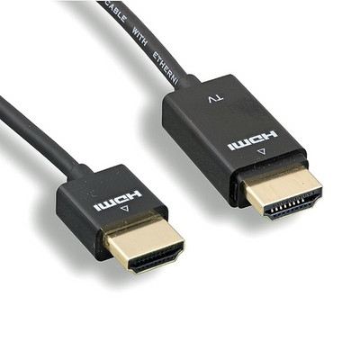 Ultra-Slim Active HDMI Cable, High-Speed with Ethernet , RedMere chipset, 4K@30Hz, 36AWG, black, 15 foot - Part Number: 10V3-48115