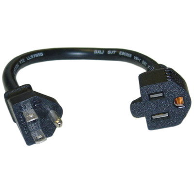 Power Extension Cord, Black, NEMA 5-15P to NEMA 5-15R, 10 Amp, 1 foot - Part Number: 10W1-04201